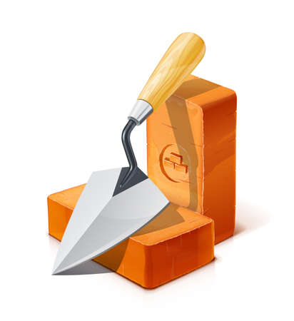 Trowel and Red ceramic brick. Tool and Material for building. Isolated on white background.  vector illustration.