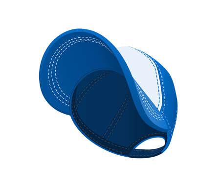 Blue baseball peaked cap. Head wear. Sports sretson. Isolated on white background. Eps10 vector illustration. Vettoriali