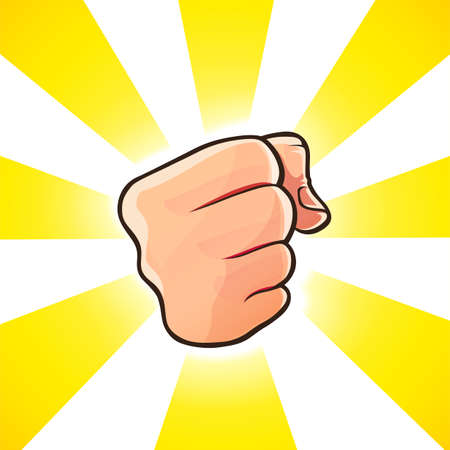 Punch. Blow fist. Force gesture arm. Strenght Kick. Powerfful Strike. Isolated on white background. Eps10 vector illustration. Vettoriali