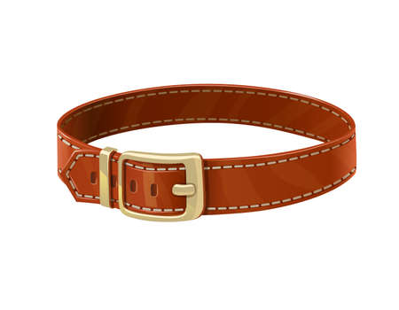 Leather belt. Clothes accessory. Isolated on white background. Eps10 vector illustration.