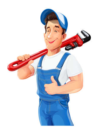Plumber man with pipe wrench show ok. Work occupation. Pipe repair Service. Cartoon character, Isolated on white background.