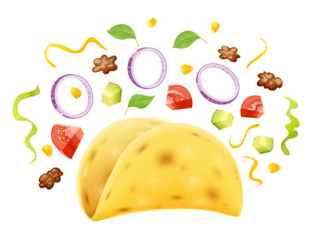 Taco. Traditional mexican fast food. Corn tortilla with filling, Isolated on white background. Eps10 vector illustration. Vettoriali