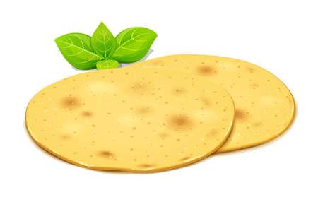 Corn tortilla for taco and burrito. Roasted lavash. Pita bread. Isolated on white background. Eps10 vector illustration.