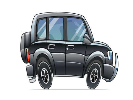 SUV black car. Cartoon character. Big travel grand auto. Isolated on white background.