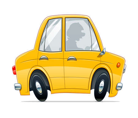Vintage yellow car. Cartoon character, Isolated on white background.