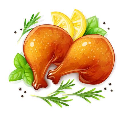 Chicken Leg. Turkey haunch. Bird food, Isolated on white background. Vettoriali