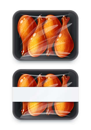 Chicken drumstick in plastic disposable packing. Mock-up design, Isolated on white background.