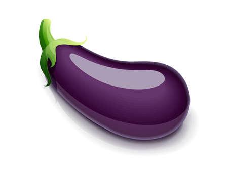 Eggplant. Vegetable food, Isolated on white background.