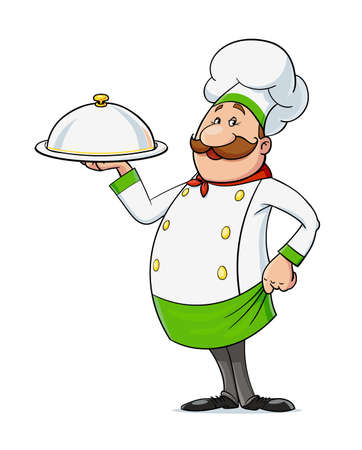 Cook with moustache. Cartoon character at restaurant kitchen, Isolated on white background. Eps10 vector illustration. Vettoriali
