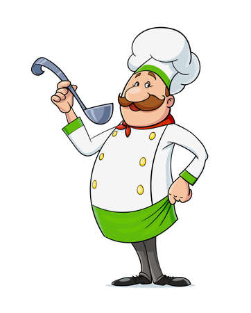 Cook with moustache and spoon. Cartoon character at restaurant kitchen, Isolated on white background. Eps10 vector illustration. Vettoriali