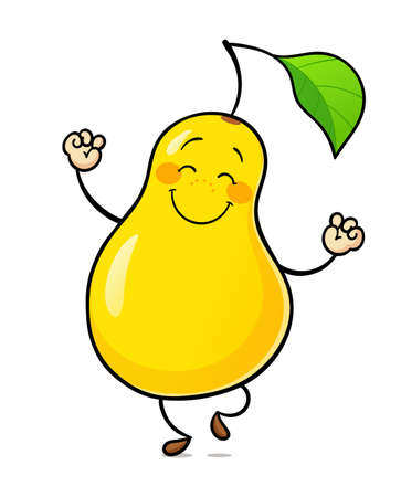 Dance pear. Delicious, sweet, ripe fruit, Isolated on white background. Eps10 vector illustration.