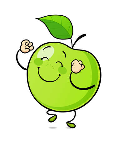Dancing green apple. Delicious, sweet, ripe fruit. Isolated on white background. Eps10 vector illustration.