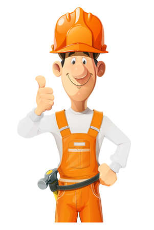 Builder. Working in helmet and overalls. Cartoon character. Work occupation. Repair specialist. Building industries. Isolated on white background. Eps10 vector illustration.