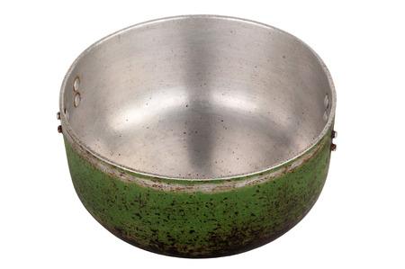 stockpot: Old aluminum pan isolated on white background