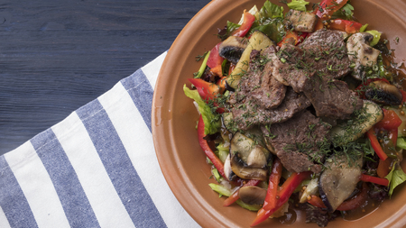 Tasty meat salad with vegetables. Top view Stok Fotoğraf