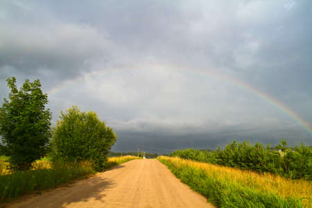 country road and rainbow photo
