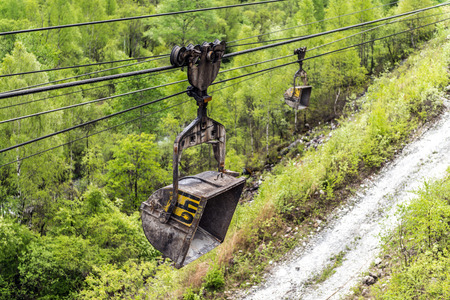 automatically: Cableway in the mining industry for the extraction of gravel and crushed stone Stock Photo