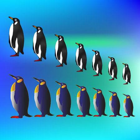 Penguin sketch seamless pattern. Hand drawn vector.