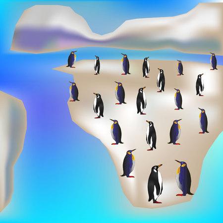 Illustration for seamless background. Penguins on ice