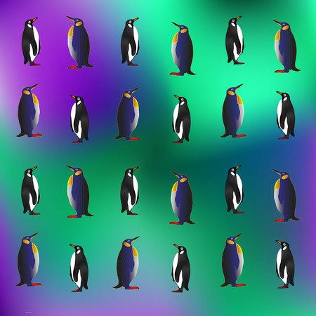 floe: Penguin sketch seamless pattern. Hand drawn vector . Illustration