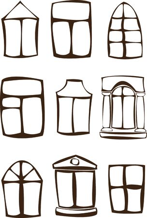silhouette windows set isolated on white background Stock Vector - 17470509