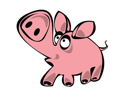 cartoon pink vector pig isolated on white background Stock Vector - 17880617