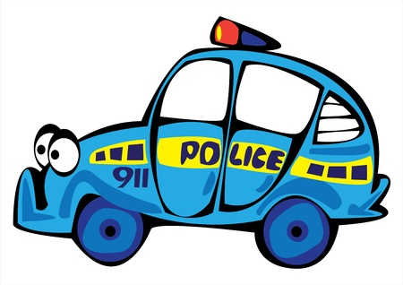 cartoon vector police car isolated on white background Stock Vector - 17880618