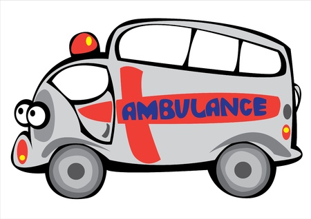 vector cartoon ambulance car isolated on white background Stock Vector - 17880622