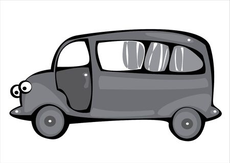 vector gray cartoon hearse isolated on white background Stock Vector - 17880626