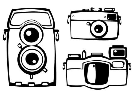 vector set of three vintage film photo cameras isolated on white background Illustration
