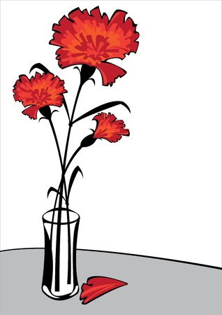 carnations: red carnations in vase isolated on white background with copyspace Illustration