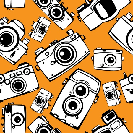 vintage film photo cameras  seamless pattern  Vector