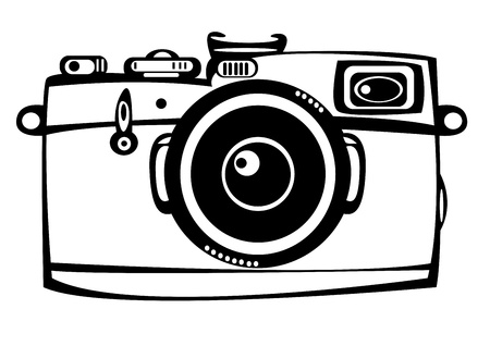 vintage film foto camera geïsoleerd op witte achtergrond