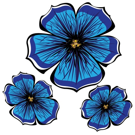 blue vector petunia flowers isolated on white background