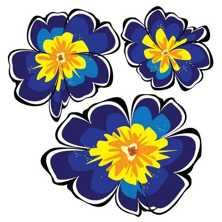 blue vector primroses isolated on white background Ilustração