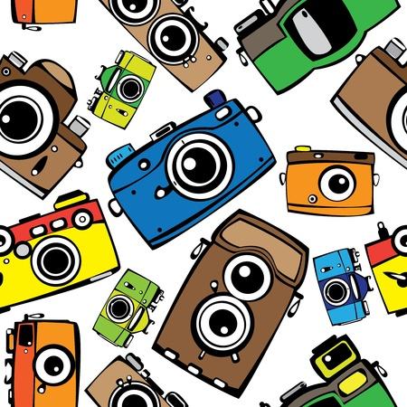 vintage multicolor film photo cameras vector seamless pattern