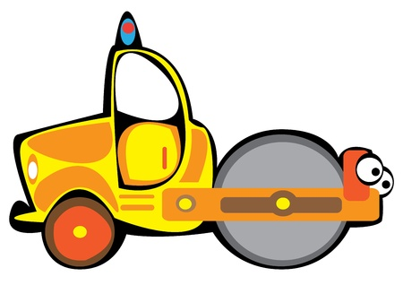 compactor: cartoon vector yellow asphalt compactor isolated on white background