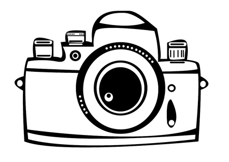 photo camera: vector vintage film photo camera isolated on white background Illustration