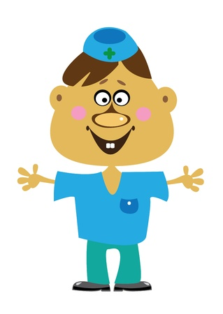 cartoon doctor boy on white background Vector
