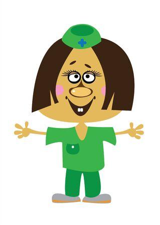 cartoon girl doctor on white background Vector