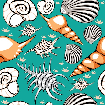seamless shells on turquoise background Vector