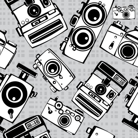 vintage film photo cameras vector seamless pattern Vector