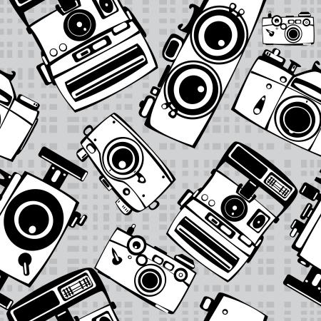 vintage film photo cameras vector seamless pattern