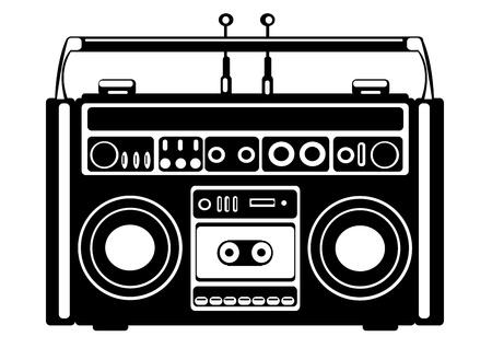 vector grabadora de cassette en el fondo blanco