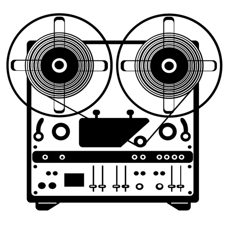 magnetofon: reel recorder wektor taśmy na białym tle Ilustracja