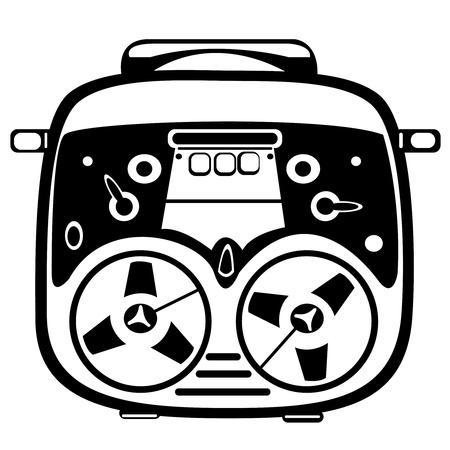 vector reel tape recorder on white background