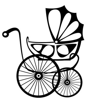 perambulator: buggy retr� vettoriale su sfondo bianco