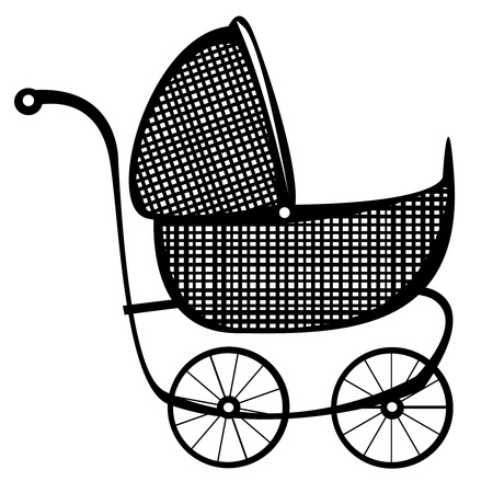 baby carriage: retro buggy vector on white background Illustration