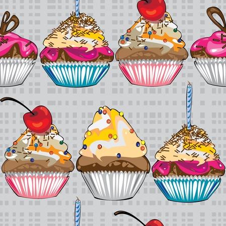 seamless pattern cake on gray background