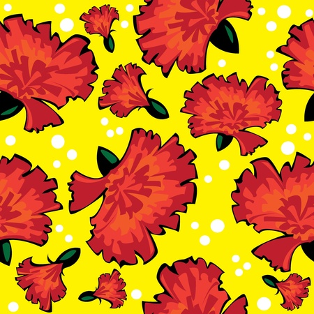 carnations: seamless pattern of red vector carnations on yellow background